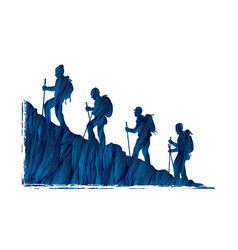 A group of people walking on mountain graphic vect vector