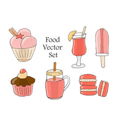 a set drinks pastries and sweets elements vector image
