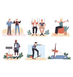 Active old people set cartoon vector