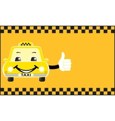 Advertising card cartoon taxi showing thumb up vector