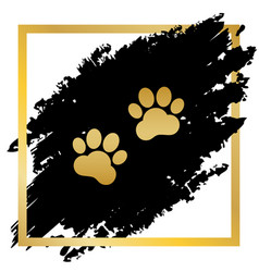 Animal tracks sign golden icon at black vector