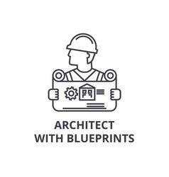 architect with blueprints line icon sign vector image