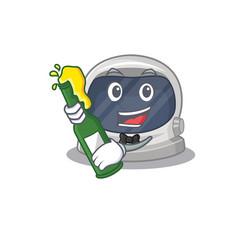 Astronaut helmet say cheers with bottle beer vector