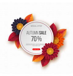autumn sale round banner with 3d leaves flowers vector image