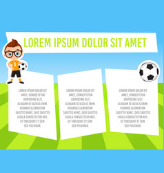 Banner with funny cartoon child sportsman vector