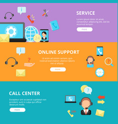 banners set of call center support horizontal vector image