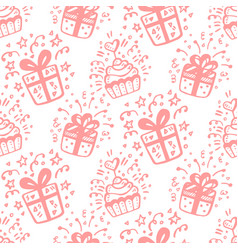 birthday party funny seamless pattern vector image