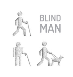 blind man and seeing eye dog vector image