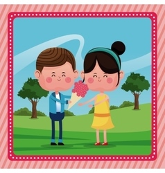 Boy giving flowers girl smile rural landscape vector