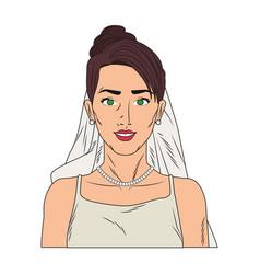 Bride pop art cartoon vector