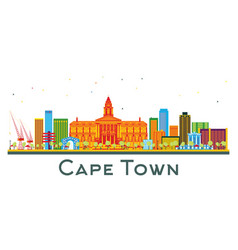 Cape town south africa city skyline with color vector