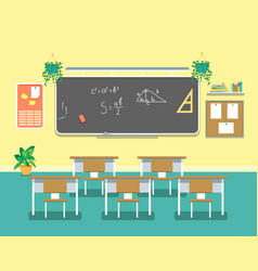 Cartoon classroom design interior vector