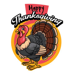 Cartoon of turkey greeting happy thanksgiving vector
