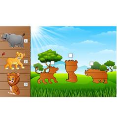 Cartoon safari animals collection find the correc vector
