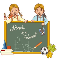 Cartoon schoolgirl and schoolboy at the blackboard vector image