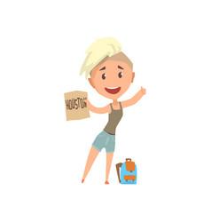 Cartoon traveler girl hitchhiker holding banner vector