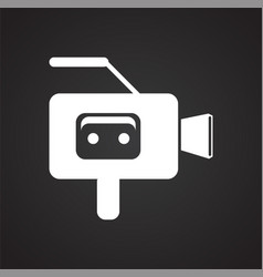 cassete tape vide camera icon on black background vector image