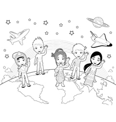 Children on the world in black and white vector
