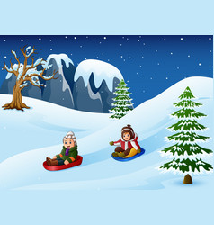 children sledding in snow d vector image