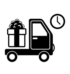 Christmas Shopping Delivery Car with Gift Box Flat vector