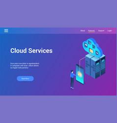 cloud services 3d lp template vector image