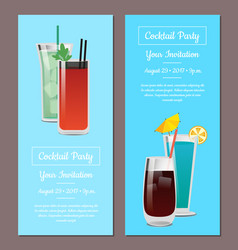 Cocktail party your invitation posters set mojito vector