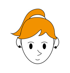 Color silhouette cartoon face woman with ponytail vector