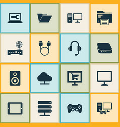 Computer icons set with server headphone monitor vector