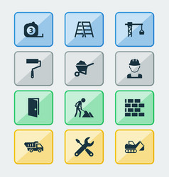 construction icons set with tower crane tools vector image