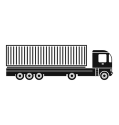 Container at the dock with truck black simple icon vector