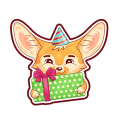 Cute fennec fox in a party hat with gift box vector