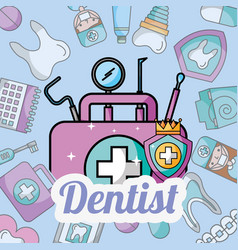 Dentist first aid kit tools oral hygiene vector