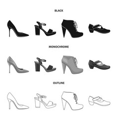 design of footwear and woman icon set of vector image