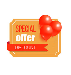 Discount special offer card design balloons label vector