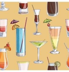 Doodle pattern cocktails vector image