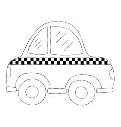 Dotted shape taxi car vehicle to transport service vector