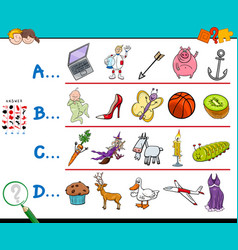 first letter of a word educational game for vector image