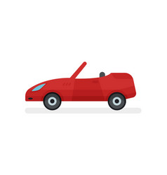 flat icon of bright red cabriolet side vector image