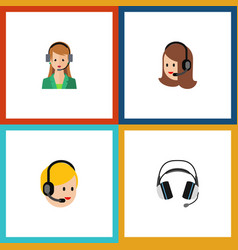 flat icon telemarketing set of earphone call vector image