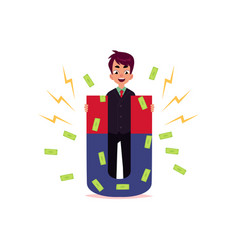 Flat office man attracting money by magnet vector