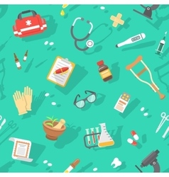 flat seamless pattern with medicine icons vector image