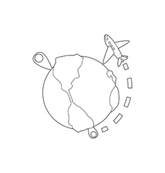 Flights around the world icon outline style vector