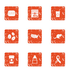 Food dose icons set grunge style vector