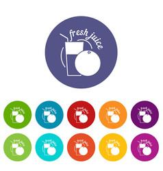 fresh juice icons set color vector image