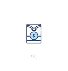 Gif concept 2 colored icon simple line element vector
