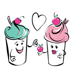 girl and boy ice cream character and cherry heart vector image