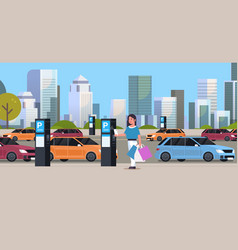 Girl driver paying to parking place smartphone vector