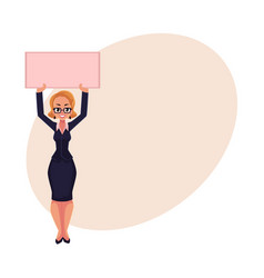 girl woman businesswoman on strike holding empty vector image