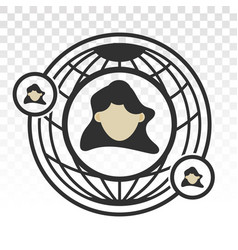 Global human outsourcing icon for apps or website vector