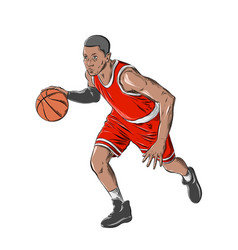 Hand drawn sketch basketball player in color vector